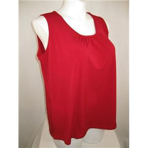 Susan Graver Size 1X Red Liquid Knit Solid Tank with Feminine Shirring