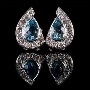 18k White Gold Pear Cut Aquamarine & Diamond Huggie Earrings 1.60ctw