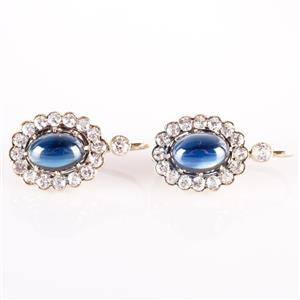Vintage 1920's 14k Yellow Gold Sapphire & Diamond Dangle Earrings 5.3ctw