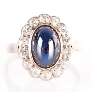 Vintage 1960's 14k Rose Gold Cabochon Sapphire & Diamond Cocktail Ring 3.94ctw