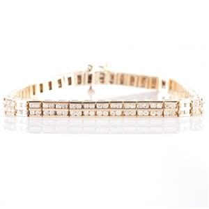 Stunning 14k Yellow Gold Round Cut Diamond Channel Set Tennis Bracelet 2.45ctw