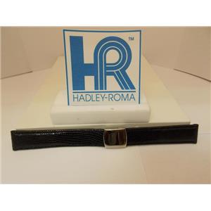Hadley Roma Watchband 18mm Black Genuine Lizard Skin w/Butterfly Fold Buckle.