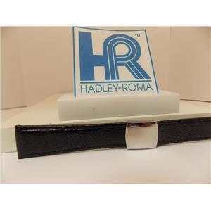 Hadley Roma Watchband A: 20mm Black Genuine Lizard Skin w/Butterfly Fold Buckle.