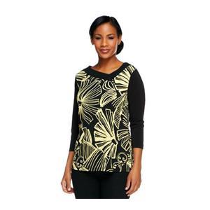 Susan Graver Size 1X LemonYellow Liquid Knit Printed Top w/Asymmetrical Neckline