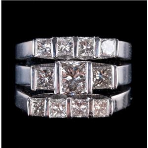 14k White Gold Princess Cut Diamond Three-Piece Engagement / Wedding Set 2.93ctw