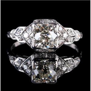 Vintage 1920's Platinum Diamond Solitaire Engagement Ring W/ Accents 1.31ctw