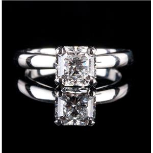 "Platinum Asscher Cut ""G"" Diamond Solitaire Engagement Ring 1.32ct W/ GIA Cert"