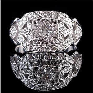 18k White Gold Vintage Style Princess Cut Diamond Floral Cocktail Ring .50ctw