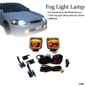 Civic EK 96-98 JDM SIR Style Front Bumper Yellow Winjet Fog Driving Light Lamp