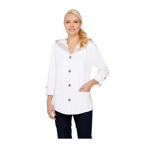 Susan Graver Size 1X Weekend French Terry Roll Tab Sleeve White Jacket # A265734