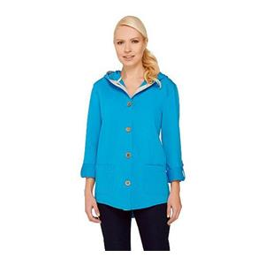 Susan Graver 3X Weekend French Terry Roll Tab Sl Brilliant Blue Jacket # A265734