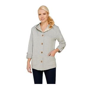 Susan Graver 1X Weekend French Terry Roll Tab Sl Heather Gray Jacket # A265734