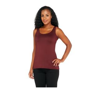 Susan Graver Essentials Size 1X Butterknit (Polyester) Layering Tank in Cabernet