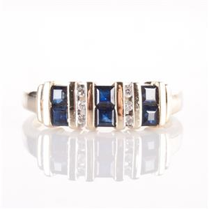 10k Yellow Gold Princess Cut Sapphire & Round Cut Diamond Cocktail Ring .54ctw