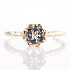 Vintage 1930's 10k Yellow Gold Round Cut Sapphire & Diamond Floral Ring .19ctw
