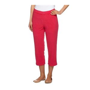 Susan Graver Size 1X Bold Fuchsia Terry Cloth Pull-on Capri Pants A253263