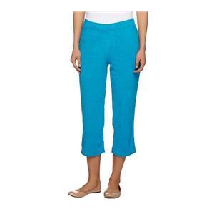 Susan Graver Size 1X Brilliant Blue Terry Cloth Pull-on Capri Pants A253263