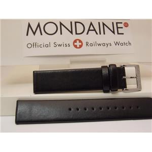 Mondaine Swiss Railways Watch Band FE3118.22Q1 18mm Black Leather Strap Tan Back