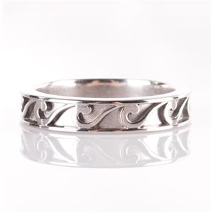 Men's 14k White Gold Wave Style Etched Band / Ring 8.2g