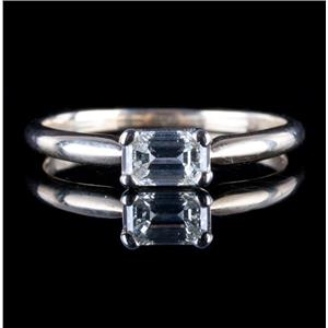 """14k Yellow Gold Emerald Cut """"E"""" Diamond Solitaire Engagement Ring .47ct"""