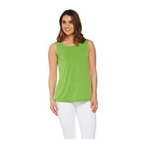 Susan Graver Size 1X Liquid Knit Tank with Scoop Neckline in Green
