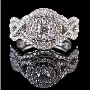 14k White Gold Round Cut Diamond Engagement Three Piece Wedding Ring Set .94ctw