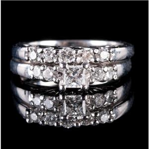 "14k White Gold Princess Cut ""F"" Diamond Engagement / Wedding Ring Set .49ctw"