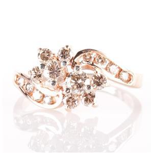 "14k Rose Gold Round Cut ""Top Light Brown"" Diamond Floral Flower Ring .88ctw"
