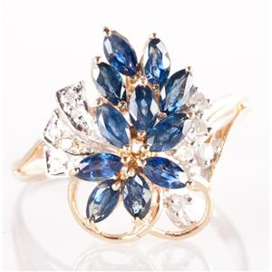 14k Yellow & White Gold Marquise Cut Sapphire & Diamond Cocktail Ring 1.09ctw