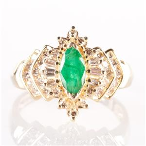 14k Yellow Gold Marquise Cut Emerald & Diamond Cocktail Ring .78ctw