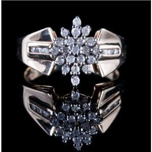 14k Yellow & White Gold Round Cut Diamond Cluster Cocktail Ring .41ctw
