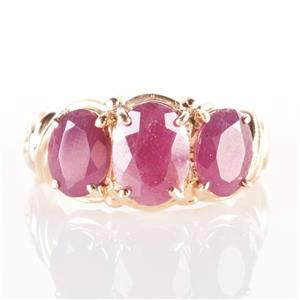 14k Yellow Gold Oval Cut Three-Stone Ruby Cocktail Ring 3.60ctw