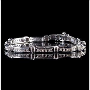 10k White Gold Round Cut Diamond Milgrain Tennis Link Bracelet .88ctw