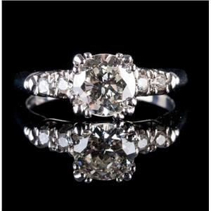 Vintage 1920's Platinum Diamond Solitaire Engagement Ring W/ Accents 1.13ctw