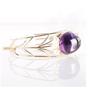 Vintage 1980's 14k Yellow Gold Purple Glass & Cultured Pearl Cuff Bracelet 25.1g