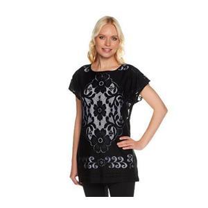 Susan Graver Size 3X Black Jacquard Lace Dolman Sleeve Scoop Neckline Top