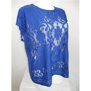 Susan Graver Size 3X Dusk Blue Jacquard Lace Dolman Sleeve Scoop Neckline Top