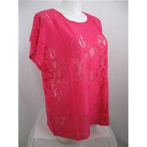 Susan Graver Size 3X Rich Fuchsia Jacquard Lace Dolman Sleeve Scoop Neckline Top