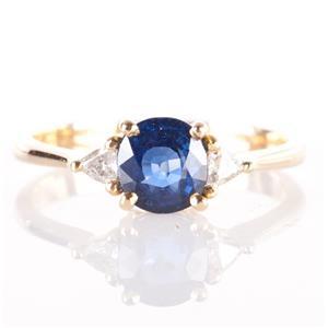 14k Yellow Gold Round Cut Sapphire & Diamond Three-Stone Ring 1.44ctw