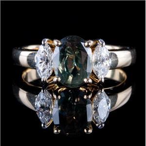 18k Yellow Gold Oval Cut Natural Alexandrite & Diamond Ring W/ Cert  2.11ctw