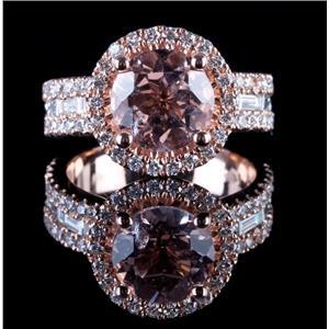 14k Rose Gold Round Cut Morganite & Diamond Halo Cocktail Ring 3.83ctw