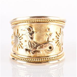 18k Yellow Gold Elizabeth Gage Zodiac Capricorn Wide Banded Ring 10.9g Size 6.5
