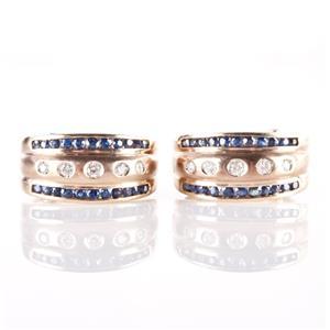 14k Yellow Gold Sapphire & Diamond Huggie Earrings W/ Omega Backs 1.30ctw