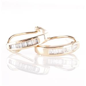 10k Yellow Gold Baguette Cut Diamond Half Hoop Huggie Earrings .25ctw