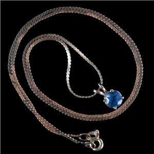 "14k Yellow Gold Round Cut Sapphire Solitaire Pendant W/ 18"" Chain 1.05ct"