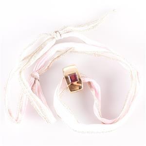 18k Yellow Gold Square Princess Cut Pink Tourmaline Slide Pendant 1.80ct
