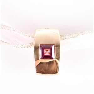 18k Yellow Gold Square Princess Cut Pink Tourmaline Slide Pendant 1.80ct