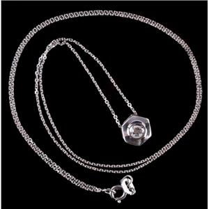 "14k White Gold Round Cut Diamond Solitaire Slide Pendant W/ 18"" Chain .10ct"