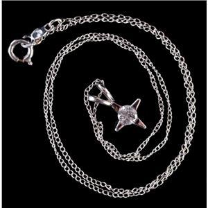 "14k White Gold Round Cut Diamond Solitaire Star Pendant W/ 14.75"" Chain .22ct"