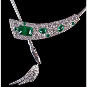 14k White / Rose Gold Emerald Cut Emerald & Diamond Custom Necklace 2.02ctw